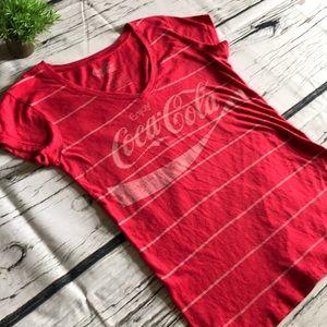 Coca Cola V-neck short sleeved tee..Large
